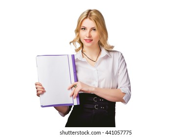 girl on a white background with a tablet in hand