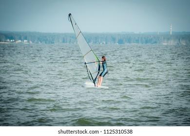 Girl on Windsurfing