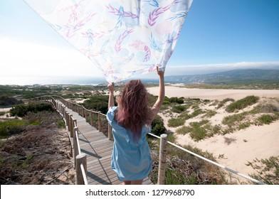 Girl on the windy beach