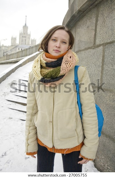 girl outdoors , flapping hairs, winter