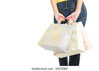 The girl with packages from shop