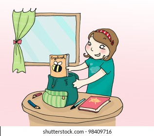 A girl packs up her schoolbag.