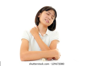 Girl with pain in her shoulder