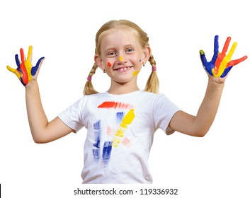 girl with painted hands, draw hands, isolated on white background