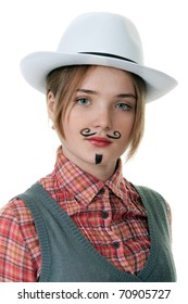 girl with painted mustaches and bowler hats on white background