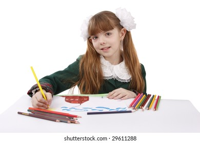 Girl is painting her family in bright colours. Schoolgirl is  drawing  in pencil. Isolated over white background.