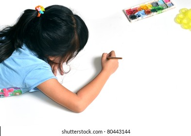 girl painting isolated