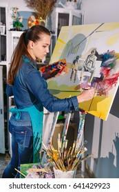 Girl in Painting Studio