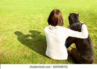 girl in the park sits with her big dog Cane Corso, rear view.