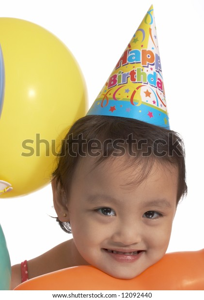girl with party hat on white background
