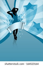 Girl at the party: invitation poster or flyer background with space