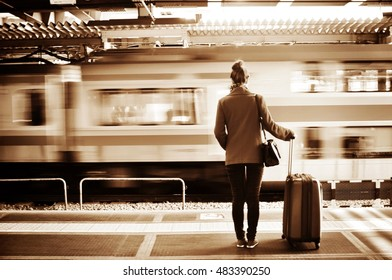 A girl with a passing train