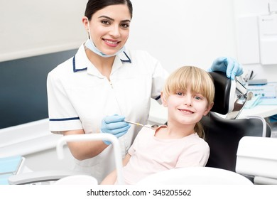 Girl patient going to get dental treatment