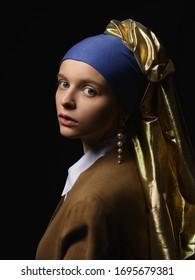 Girl with a pearl earring modern fashion interpretation