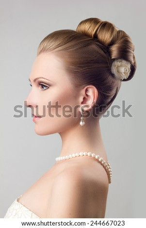 Girl Pearl Necklace Wedding Hairstyle Stock Photo Edit Now