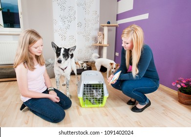 Girl with pets and pet sitter