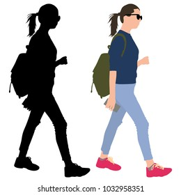 girl with a phone and a backpack