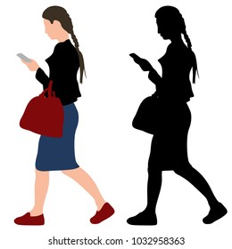 girl with a phone and a bag
