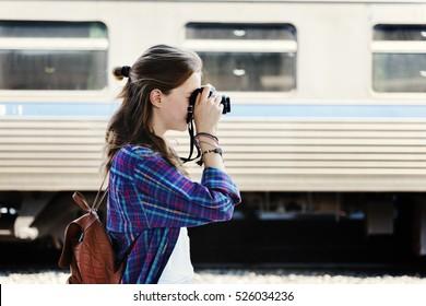 Girl Photographer Traveler Wanderlust Concept
