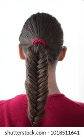 """Girl with a pigtail """"fish tail"""" and fair-haired hair of medium length"""