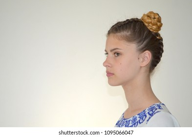 Girl with pigtails French and bunches, hairstyle  Ombre Hair Color for Brunettes