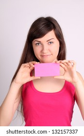 Girl with a pink card