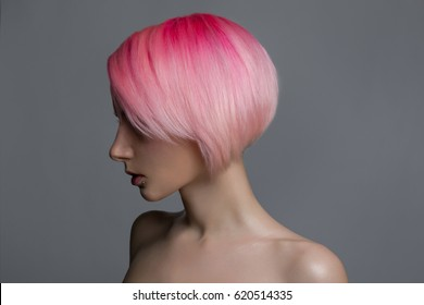 Girl with pink  hair
