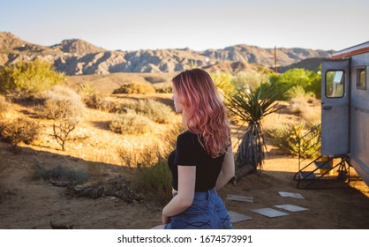 Girl with pink hair in Joshua Tree national park
