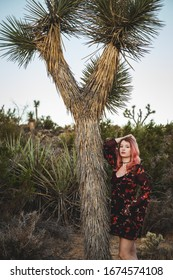 Girl with pink hair at Joshua Tree National Park