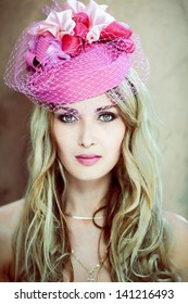 Girl in a pink hat retro