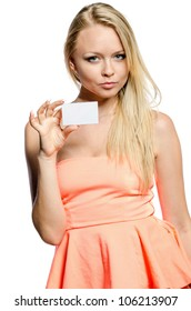 girl in pink shows white card