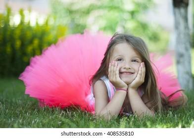 girl in pink skirt