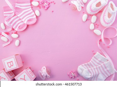 Its A Girl Pink Theme Baby Shower Or Nursery Background With Decorated  Borders On Pink Wood