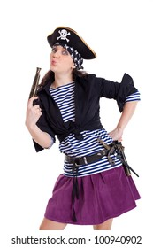 the girl the pirate with the gun