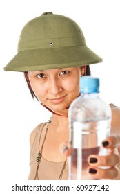 Girl in a pith helmet with a bottle of water