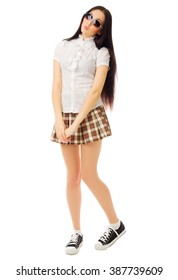 Girl in plaid skirt