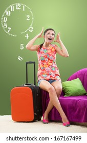 Girl planning her travel during peak season, limited time concept