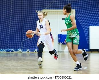 Girl play basketball sport tournament