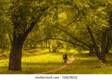 Girl play with dog in autumn forest.Autumn landscape.