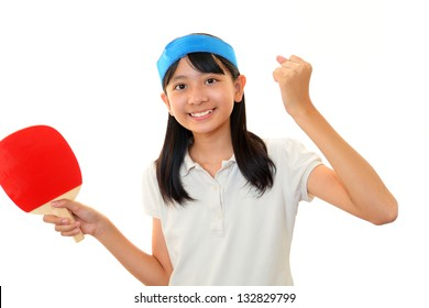 Girl play table tennis.