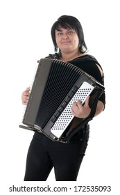 girl playing an accordion, isolated on white