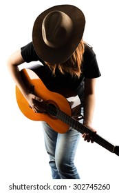 girl playing classic guitar isolate on white
