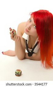 Girl playing dice