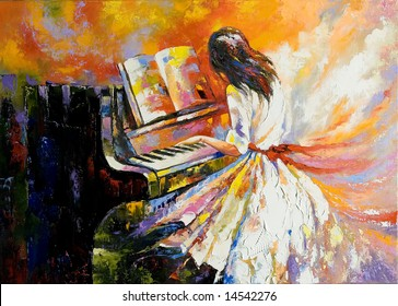 The girl playing on the piano