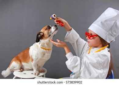 Girl playing veterinarian with dog