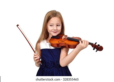 girl playing violin on white background