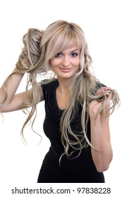 girl plays hair.  blonde on  white background