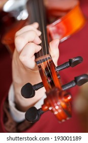 girl plays on fiddle - chord on fingerboard close up