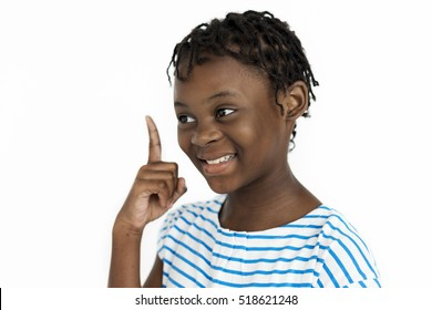 Girl Pointing Thinking Idea Concept
