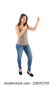 Girl points with her finger